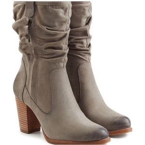 UGG Dayton Taupe Leather Slouch Heeled Boots